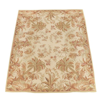 Handwoven French Aubusson Style Wool Slitweave Kilim