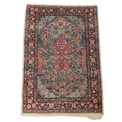 """2'0 x 3'1 Hand-Knotted Persian Kerman """"Vase of Flowers"""" Rug, circa 1930"""