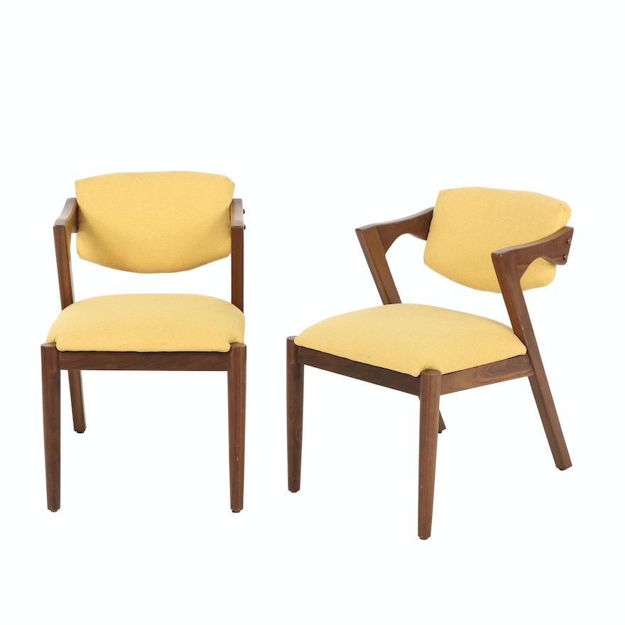 Pair of Modernist Walnut Elbow Chairs, Second Half 20th Century