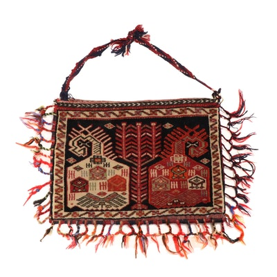 1'5 x 2'5 Hand-Knotted Persian Qashqai Pictorial Storage Bag, circa 1970