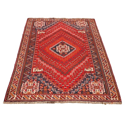 Hand-Knotted Persian Abadeh Wool Rug, Late 20th Century