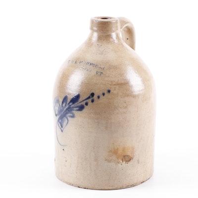 Vermont Salt-Glazed Stoneware Jug with Cobalt Underglaze Decoration