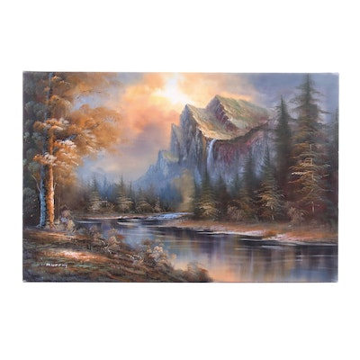 Oil Painting of Mountain Landscape with River