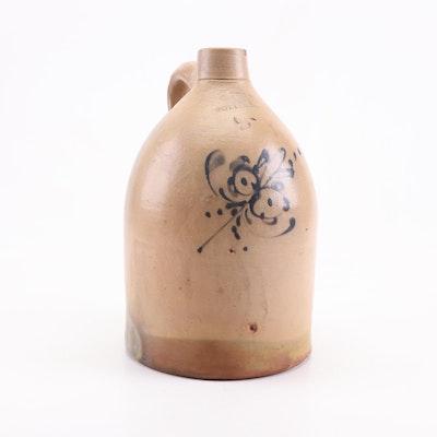 Salt-Glazed Stoneware Jug with Cobalt Underglaze Decoration