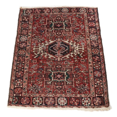 3'9 x 4'9 Hand-Knotted Persian Karaja Rug, circa 1920