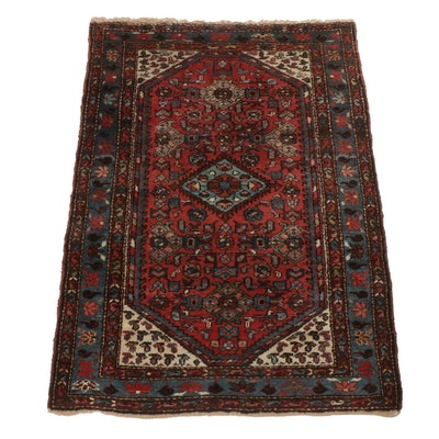3'5 x 4'11 Hand-Knotted Persian Zanjan Rug, circa 1920