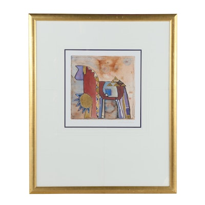 Embellished Offset Lithograph of Abstract Horse