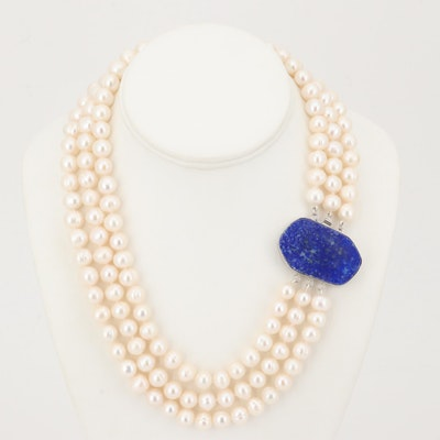 Freshwater Pearl Three Srand Necklace with Lapis Lazuli Clasp