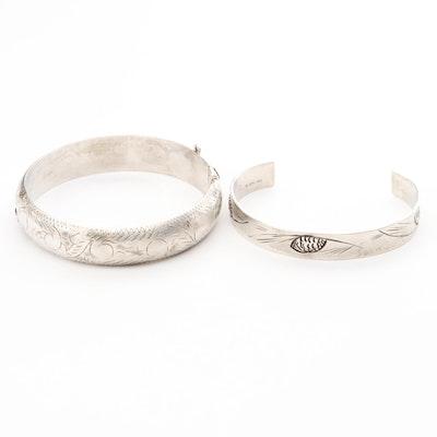 Vintage Sterling Silver Hinged Bangle Bracelet and Cuff Bracelet