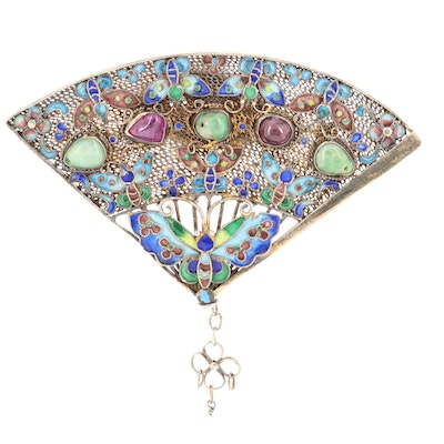Vintage Chinese Sterling Silver Cloisonné Gem Butterfly Fan Brooch