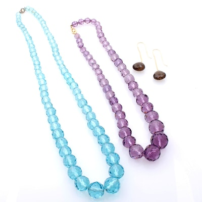 Amethyst and Topaz Faceted Bead Necklaces with Smoky Quartz Earrings