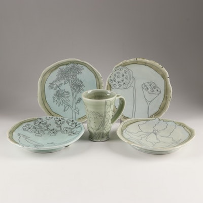 Thrown and Altered Porcelain  Botanical Dinnerware