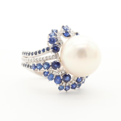 18K White Gold Cultured Pearl, Sapphire and Diamond Ring