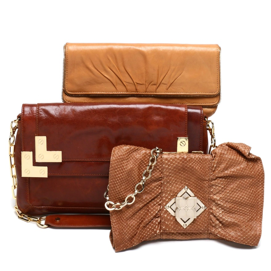 Tory Burch Brown Leather Bag, Lauren Merkin Leather Clutch and BCBG Bag