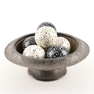 Silver Plated Barbour Silver Co. Bowl with Decorative Wooden Balls