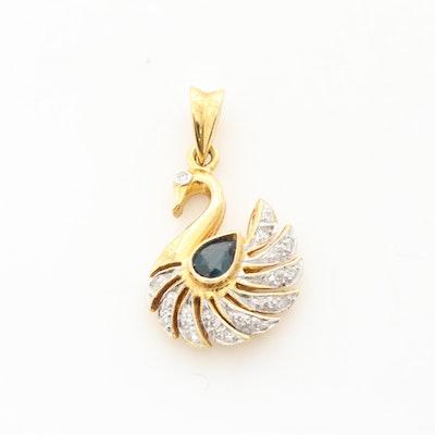 18K Yellow Gold Blue Sapphire and Diamond Swan Pendant