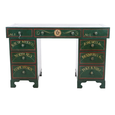 Contemporary Nautical Motif Painted Wooden Pedestal Desk