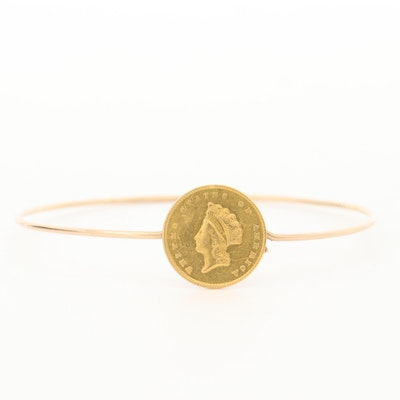 Gold Tone Bracelet with Indian Princess Head $1 Gold Coin