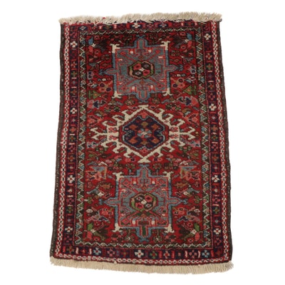 1'11 x 3'0 Hand-Knotted Persian Karaja Rug, circa 1920