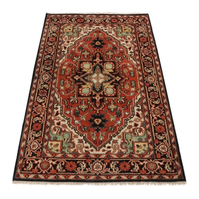 4'11 x 8'1 Hand-Knotted Indo-Persian Heriz Rug