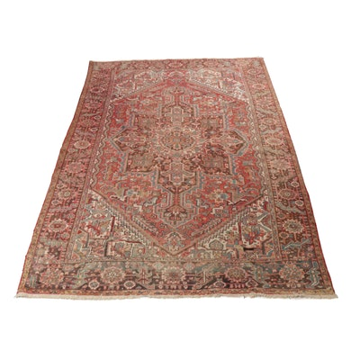 7'9 x 11'4 Hand-Knotted Persian Heriz Rug, circa 1930s