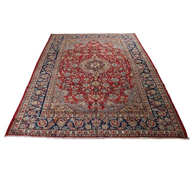 9'9 x 13'2 Hand-Knotted Persian Isfahan Room-Sized Rug, circa 1970s