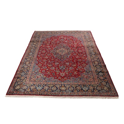 9'3 x 13'3 Hand-Knotted Persian Mashad Room-Sized Rug, circa 1970