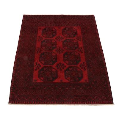 5'0 x 6'5 Hand-Knotted Afghani Turkoman Rug