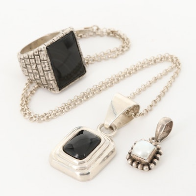 Sterling Silver Including Onyx, Mother Of Pearl, Resin and Silpada Pendants