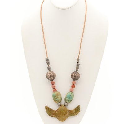 Vintage Egyptian Style Sterling Coral and Imitation Turquoise Scarab Necklace