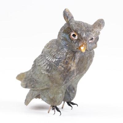 Carved Stone Owl Figurine, Vintage