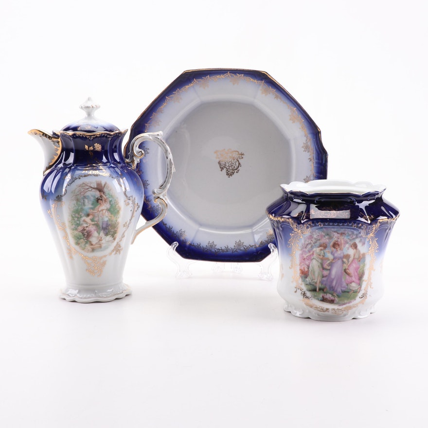 PMB Royal Bavaria and SVOC Imperial China Porcelain Plate, Teapot, and Vase
