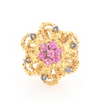 18K Yellow Gold Ruby and Sapphire Ring