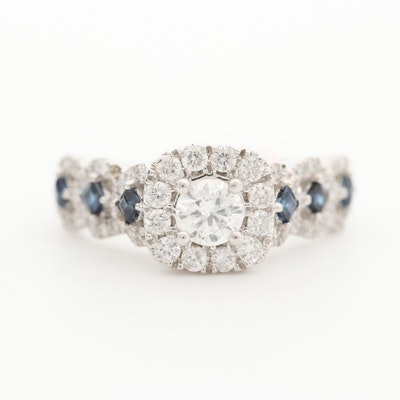 10K White Gold Diamond and Sapphire Ring