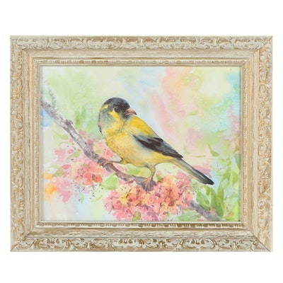 American Goldfinch Watercolor Painting