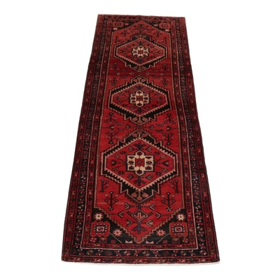 3'6 x 10'2 Hand-Knotted Persian Zanjan Long Rug, circa 1970