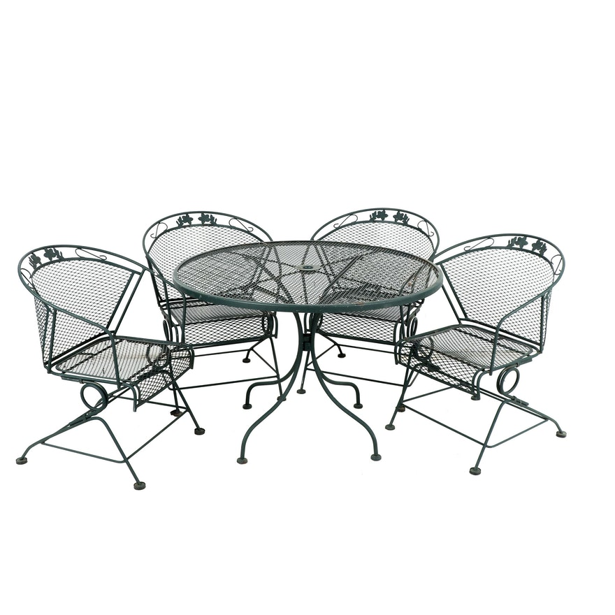 Metal Patio Furniture.Outdoor Metal Patio Table With Four Chairs