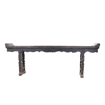 Chinese Carved Elm Altar Table, Qing Dynasty