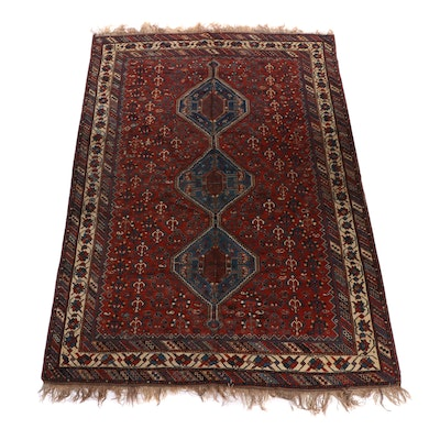 Hand-Knotted Persian Qashqai Shiraz Room Sized Wool Rug