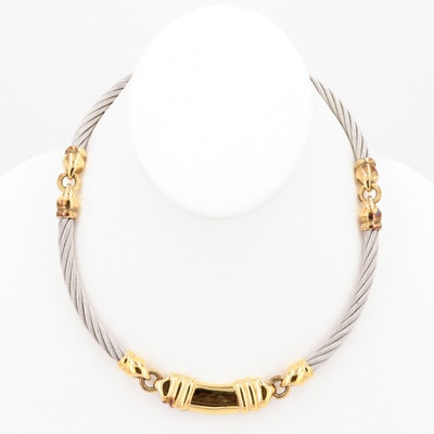 Philippe Charriol Sterling Silver and 18K Yellow Gold Necklace