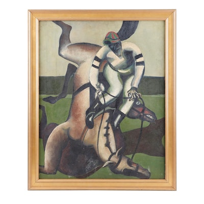 20th Century Abstract Oil Painting of a Horse and Jockey