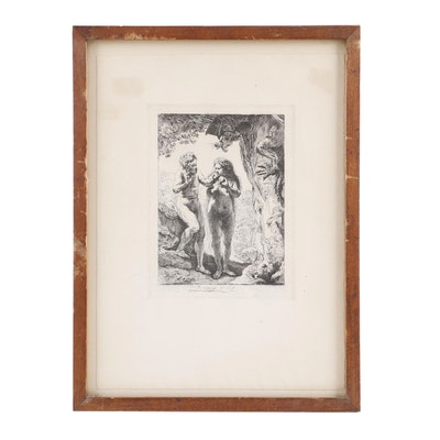 """Amand Durand Restrike Etching after Rembrandt """"Adam and Eve"""""""