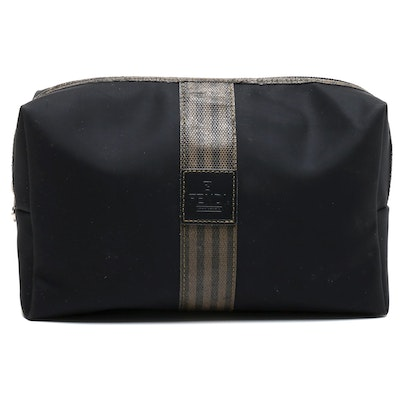 Fendi Complemento Black Nylon and Pequin Stripe Toiletry Bag