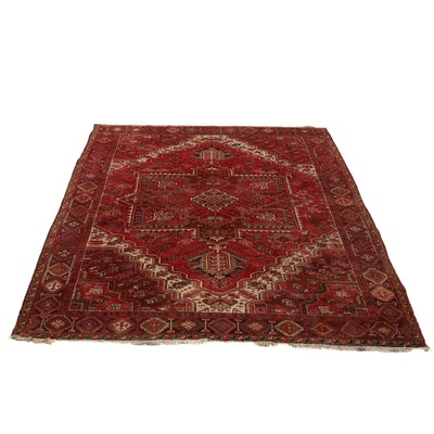 Hand-Knotted Persian Heriz Room Sized Wool Rug