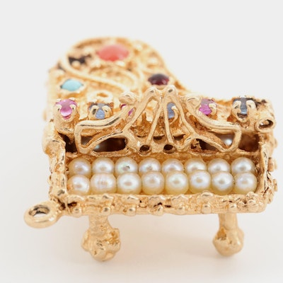 14K Yellow Gold Seed Pearl and Gemstone Grand Piano Charm Pendant