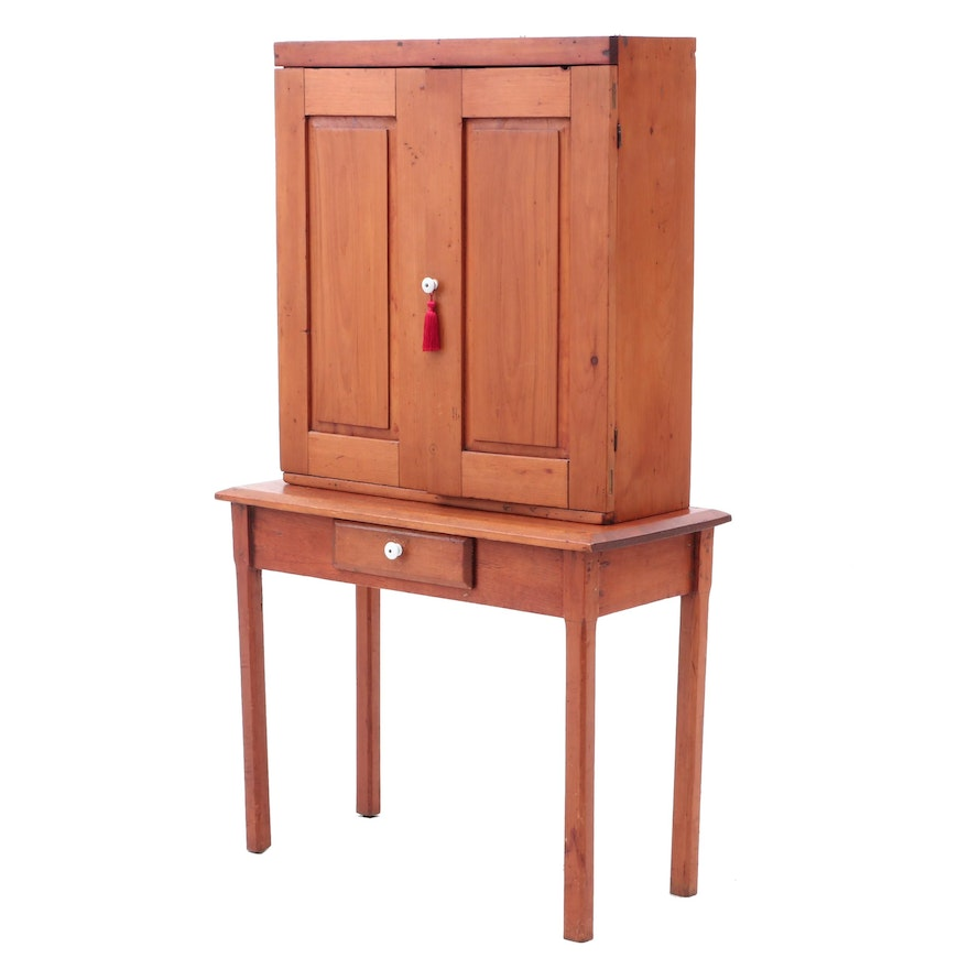 Poplar Dovetailed Cabinet on Table, Early 19th Century