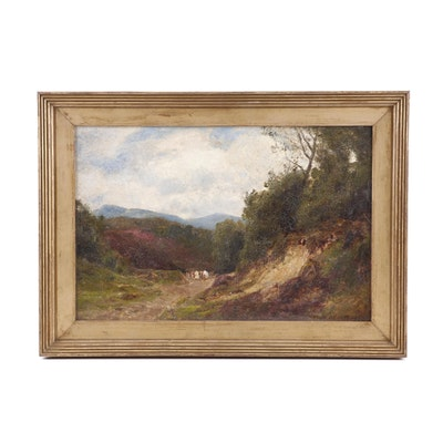 John Clayton Adams Pastoral Landscape Oil Painting, 1903