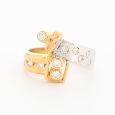 18K White and Yellow Gold Diamond Bypass Ring