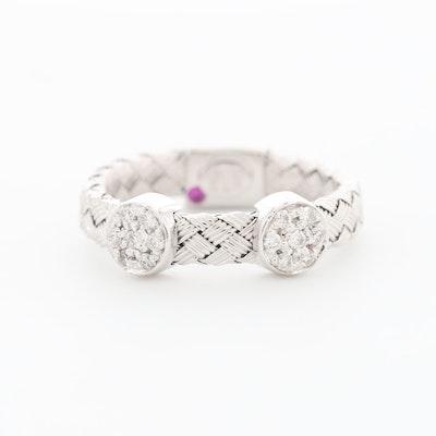 "Roberto Coin ""Woven Silk"" 18K White Gold Diamond Ring with Hidden Ruby"