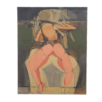 Late 20th Century Abstract Figural Oil Painting